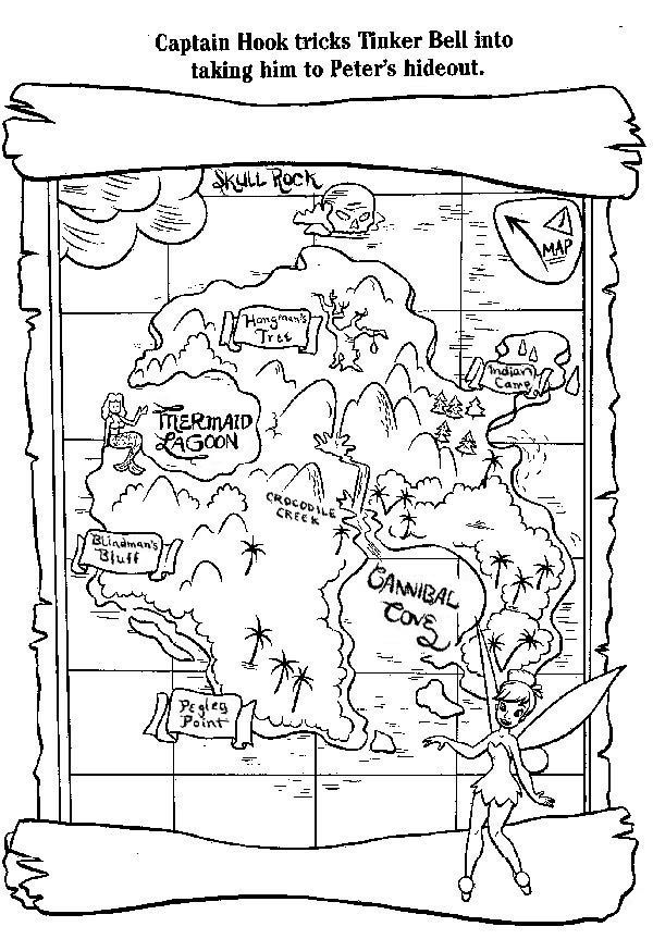 Captain Hook Treasure Map Coloring Page Peter Pan Crafts Peter