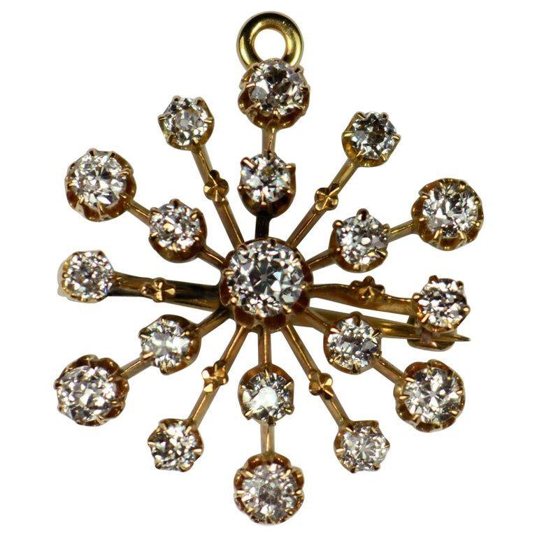 Bailey Banks Biddle Bailey Banks Biddle Snowflake Brooch Pendant Victorian Diamond 18k Gold Gold Gemini Pendant Gold Pendant Gold Diamond