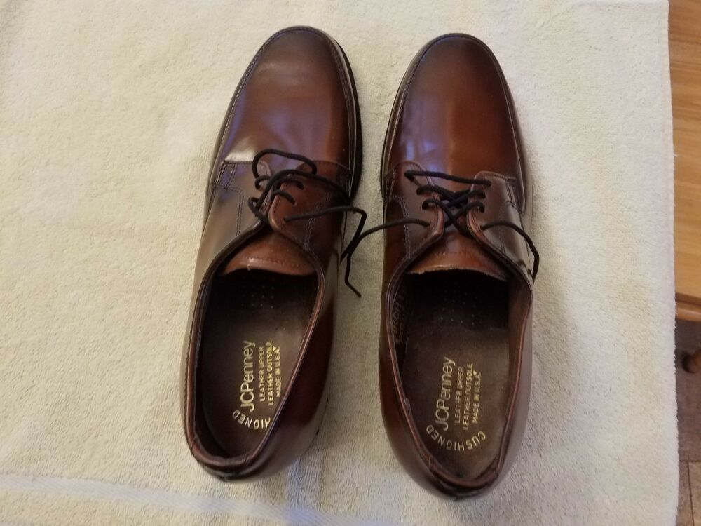 1d91f58dc190 Vintage J C Penny Classics Mens Brown Leather Oxford Shoes Sz 8.5 D New - Dress  Shoes