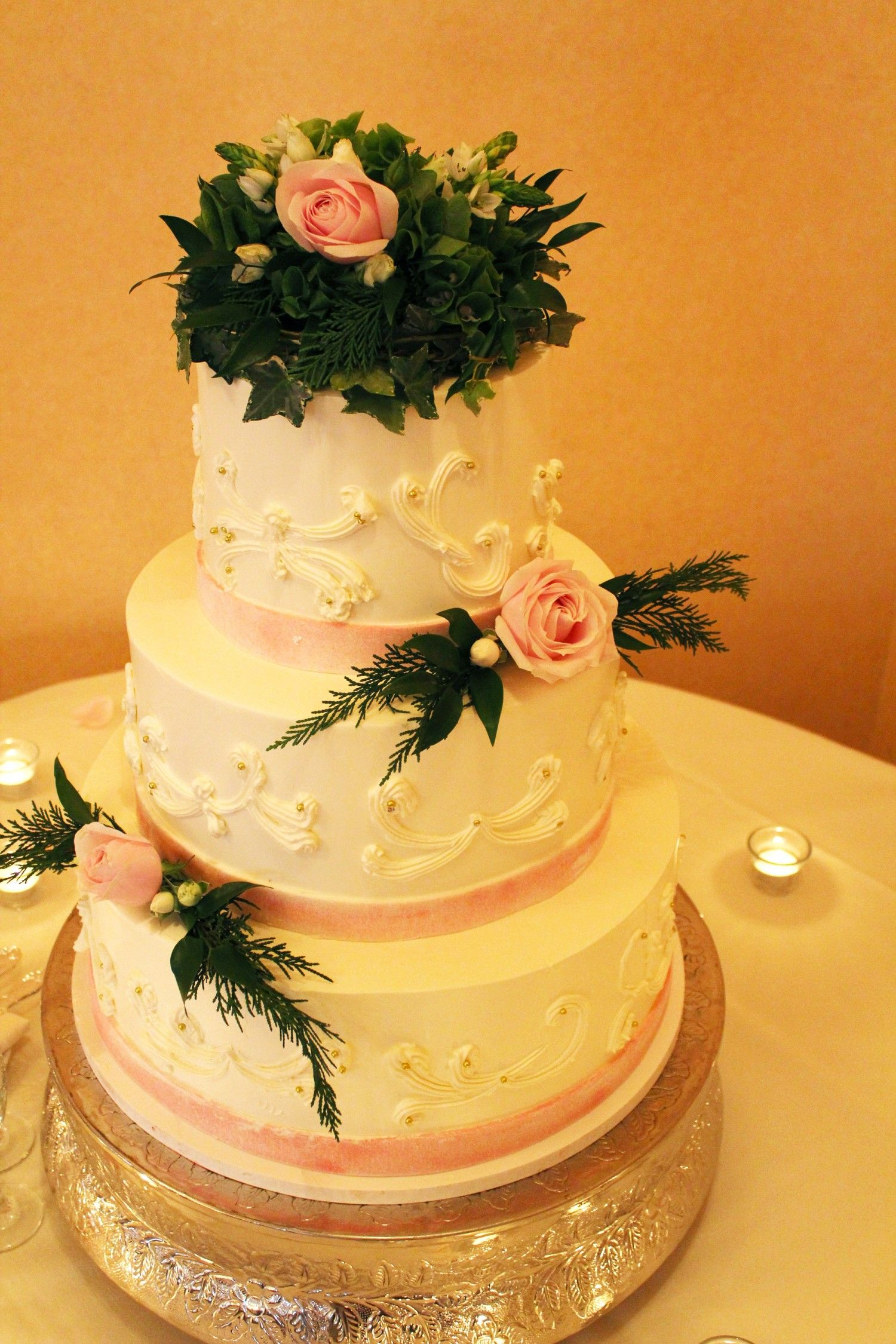 Cake Flowers: Topper & 2 tiers light pink roses and greenery ...