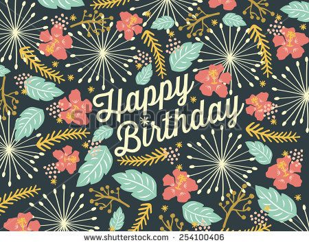 Happy Birthday Design Vector ~ Happy birthday card with floral background pattern. vector and