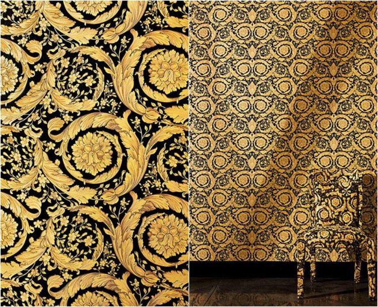 designer tapeten versace gold schwarz muster - Versace Muster