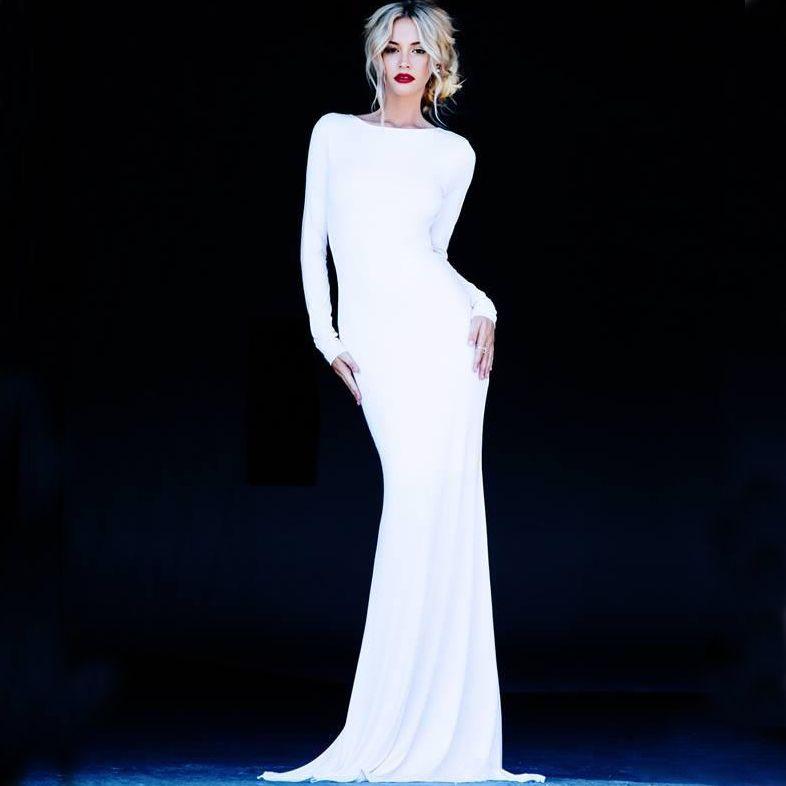 Elegant Simple Long Sleeve Wedding Dress: 2015 Simple White Spandex Wedding Dresses With Long Sleeve
