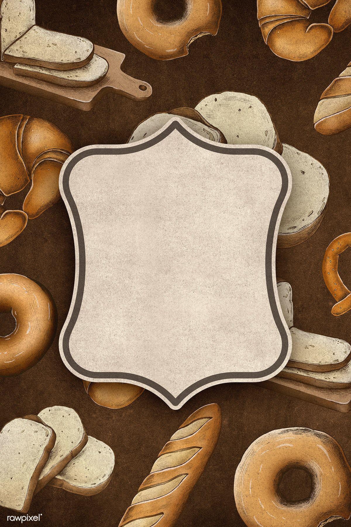 Hand Drawn Vintage Baked Bread Badge Premium Image By Rawpixel Com Vintage Baking Food Background Wallpapers Baking Wallpaper