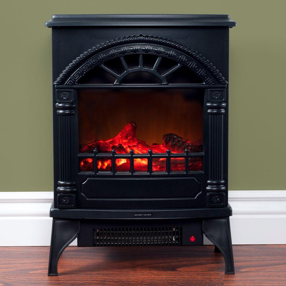 Northwest 21 5 In Freestanding Electric Log Fireplace In Black 80 Wsd012 The Home Depot Fireplace Heater Electric Fireplace Heater Freestanding Fireplace