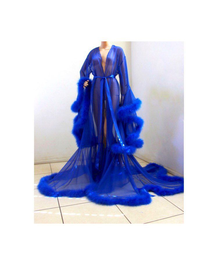 08b26cf225 Excited to share this from my  etsy shop  Sheer Fur Robe Lingerie Royal  Blue. Feather trim robe with satin ties.  shopnonyeb  lingerie  boudoir