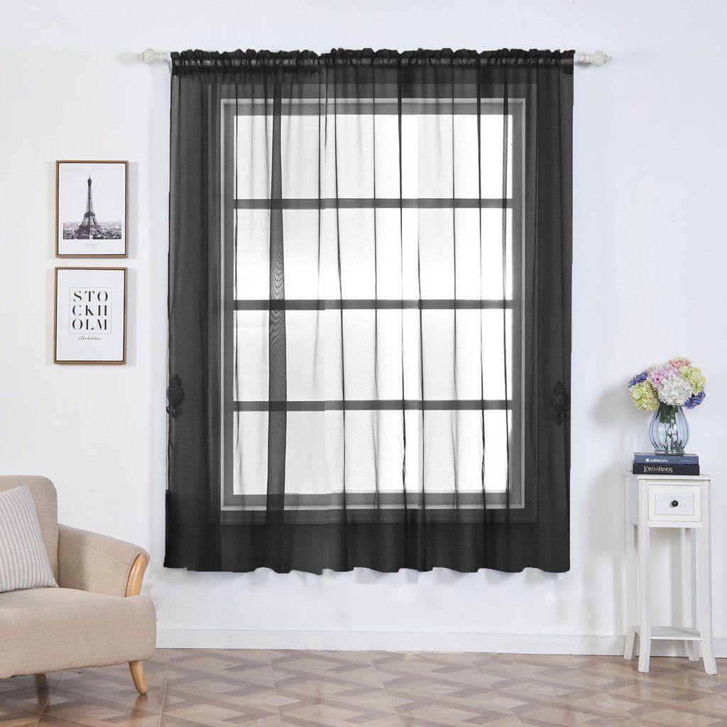 Pack Of 2 52 X84 Black Organza Grommet Sheer Curtains Panels In 2020 Sheer Curtain Panels Curtains Panel Curtains