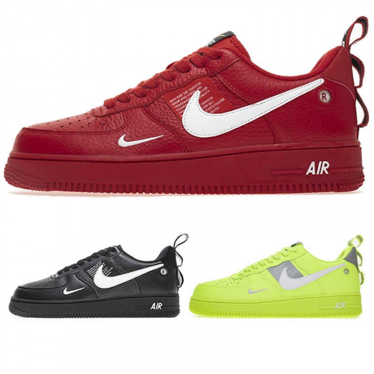 Nike Air Force 1 07 Lv8 Utility Volt Black Red Aj7747 700 Aj7747 001 Aj7747 600 Nike Nike Air Force Air Jordan Shoes