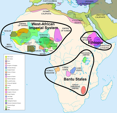 "Africa History Atlas Diachronic map showing pre-colonial cultures of Africa (spanning roughly 500 BCE to 1500 CE) This map is ""an artistic interpretation"" using multiple and disparate sources."