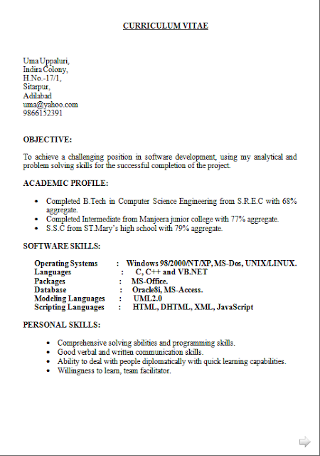 Curriculum Vitae Sample Free Download Sample Template Excellent Cv