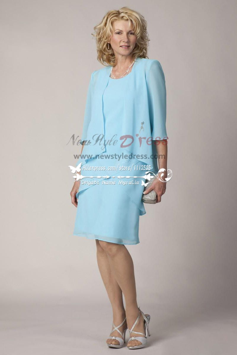 Sky blue chiffon Plus size mother of the bride dress with jacket 2PC ...