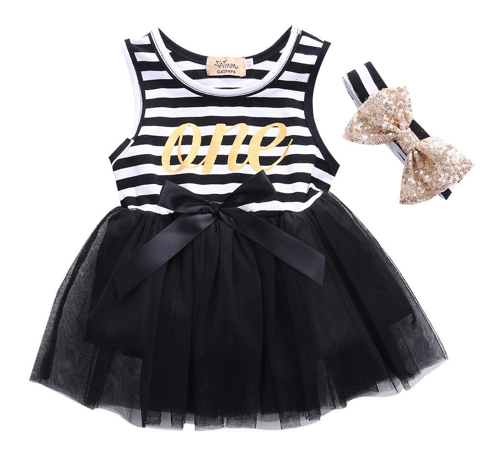 First Birthday Gold One Striped Tutu Dress Headband In Black First Birthday Dresses Girl Outfits Birthday Tutu Dress [ 958 x 1001 Pixel ]