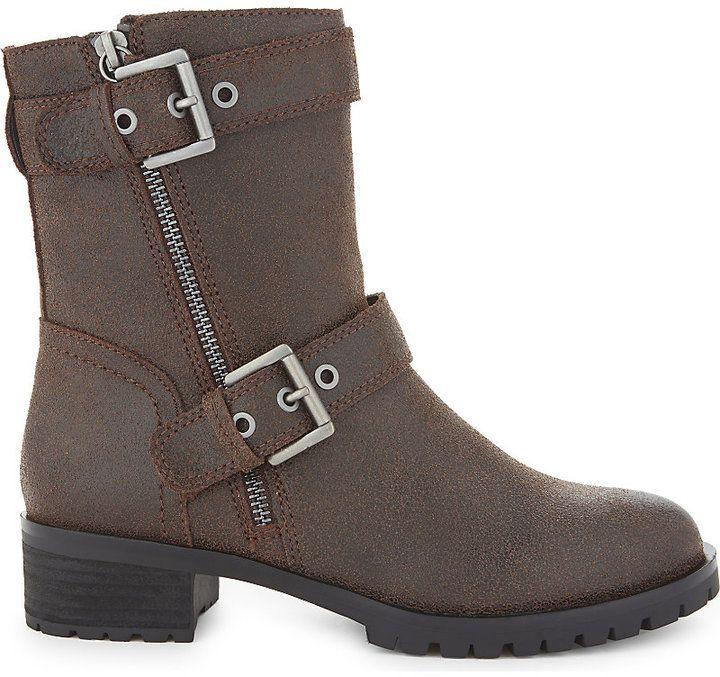 Aldo Ladies Dark Brown Modern Bralen Leather Biker Boots