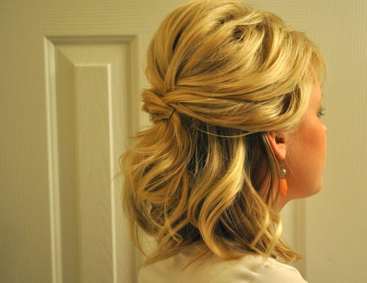 Updos For Medium Hair Half Up Half Down Half Up Half Down Wedding Hairstyles For Medium L Short Hair Lengths Medium Length Hair Styles Mother Of The Bride Hair