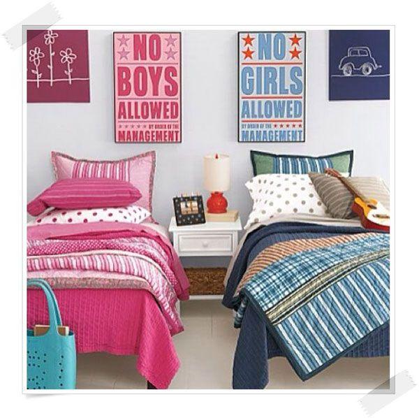 C mo decorar habitaciones compartidas por un ni o y una for Decoracion habitacion compartida nino nina