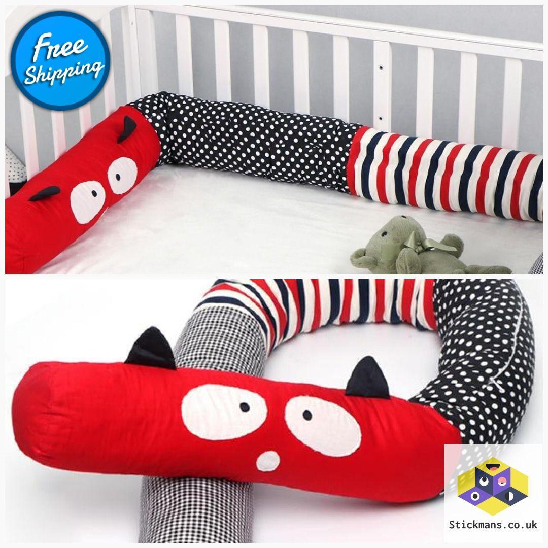Putonme 2m Newborn Bumper Soft Pillow Baby Bed Bumper red
