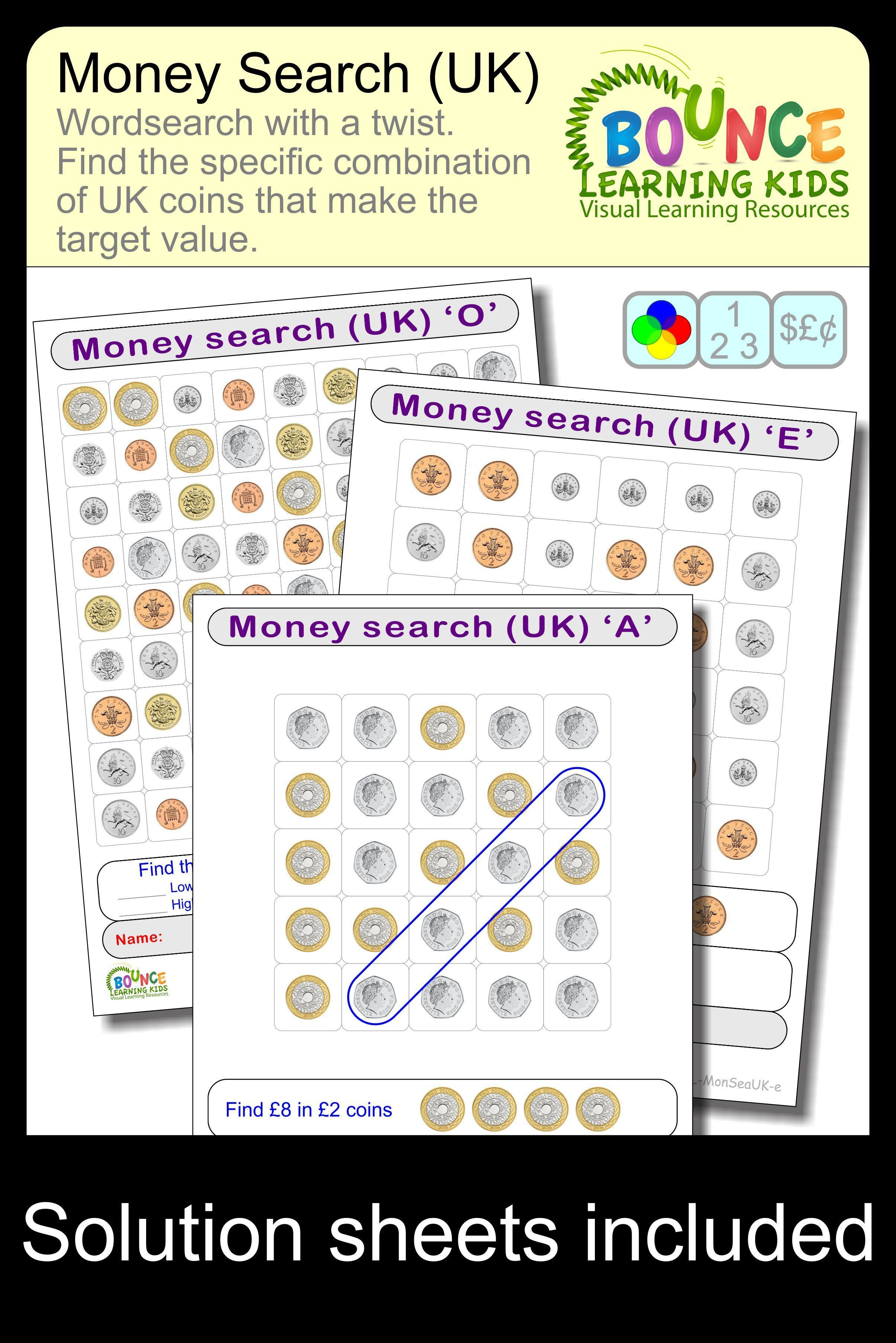 Wordsearch Using Uk Coins 19 Distance Learning Worksheets