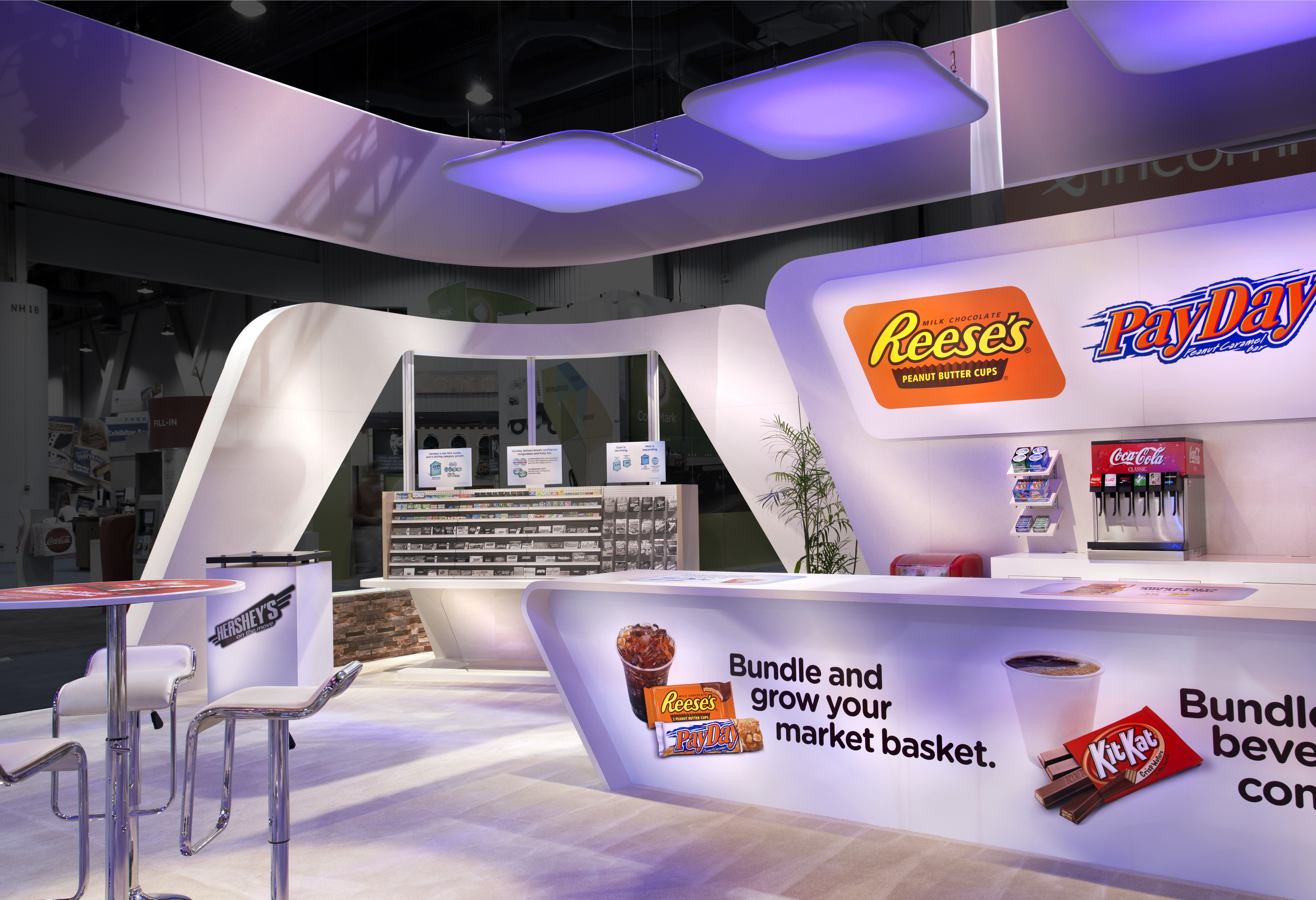 Hershey Favorites Reeses Kitkat And Payday Goodies All Available For Sampling Booth Design Exhibition Design Exhibition Stand Showroom showcase eye candy
