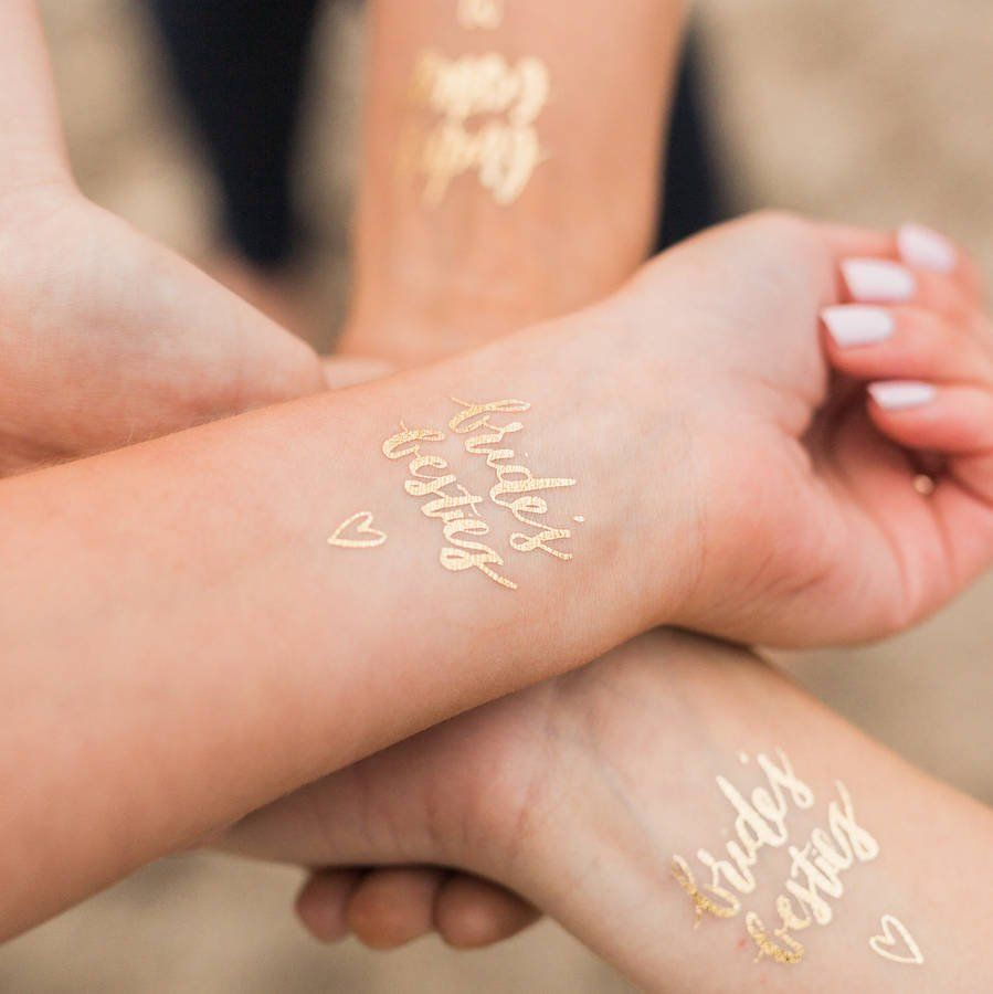 Brides Besties Hen Party Gold Temporary Tattoos