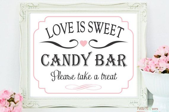 Candy Bar Sign Custom Color Love is Sweet by PetiteFlowersStudio