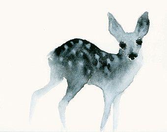 Aquarell Kunstdruck Landschaft mit Hirschen und von dearcatherina