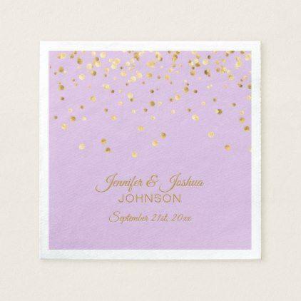 Personalized Lavender Purple Gold Confetti Wedding Napkin Elegant Gifts Diy Accessories Ideas