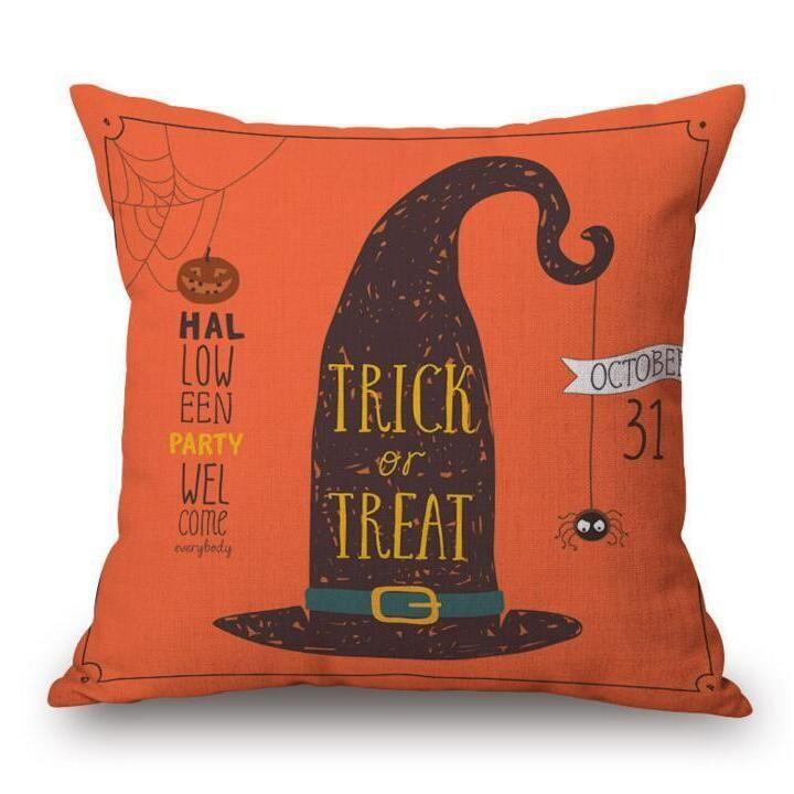 3PCS Halloween Pumpkin Bat Owl Pattern Pillowcase Cotton Linen Throw Pillow Cushion Cover Seat Home Decoration Sofa Decor 6 TYPE
