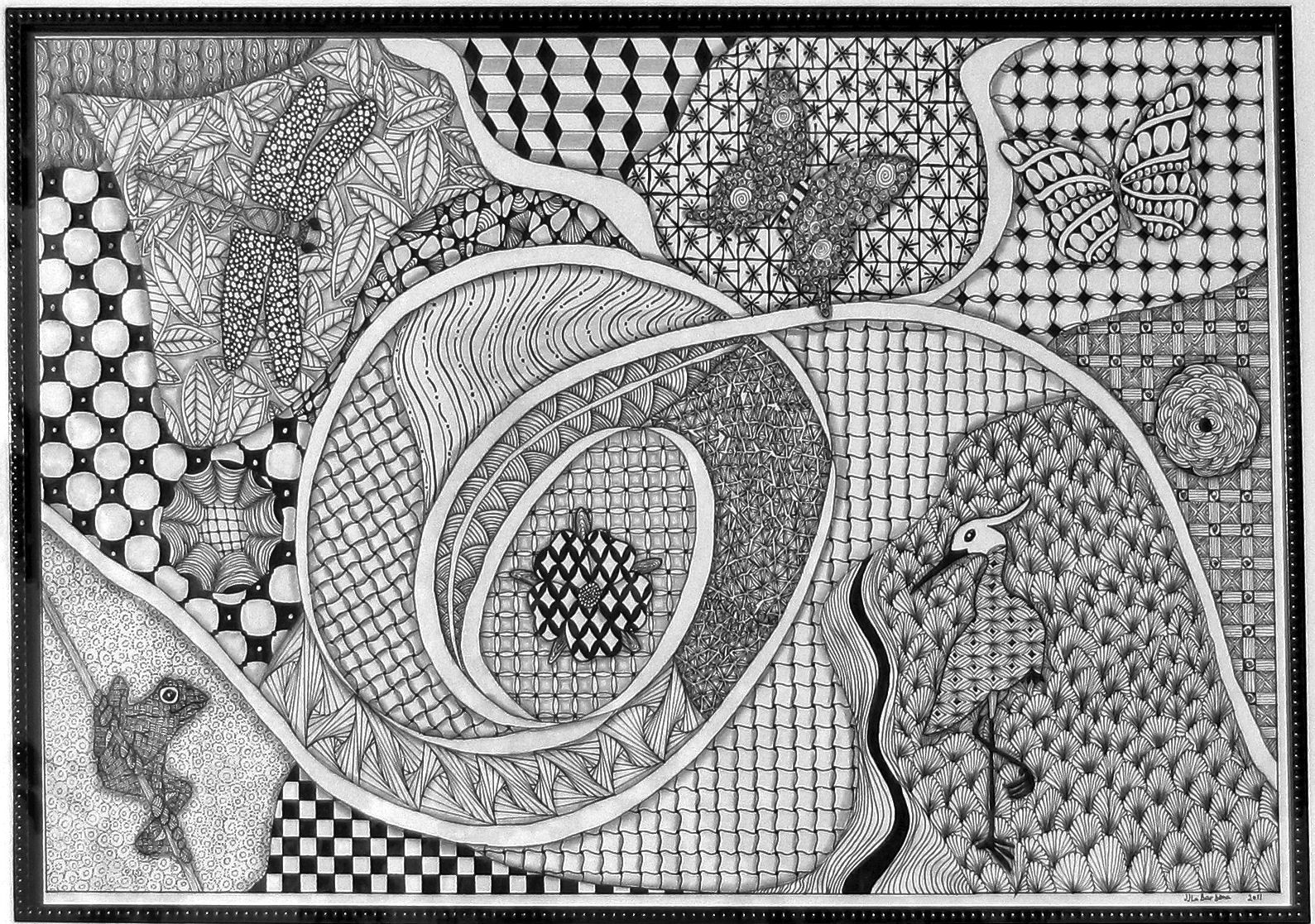 Nature Tangle. Animal and Bird outlines are from @doverpublishing books and filled in with Zentangle patterns. By JJ LaBarbera