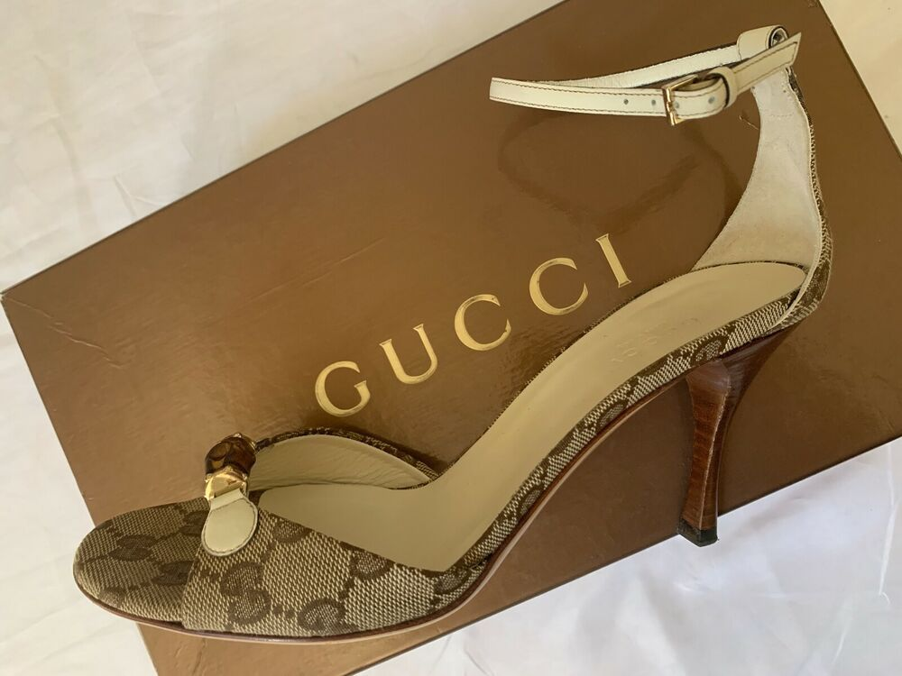 6155ee92a5c7c GUCCI MONOGRAM BAMBOO BIT ANKLE STRAP SANDALS / HEELS (FOREVER ...