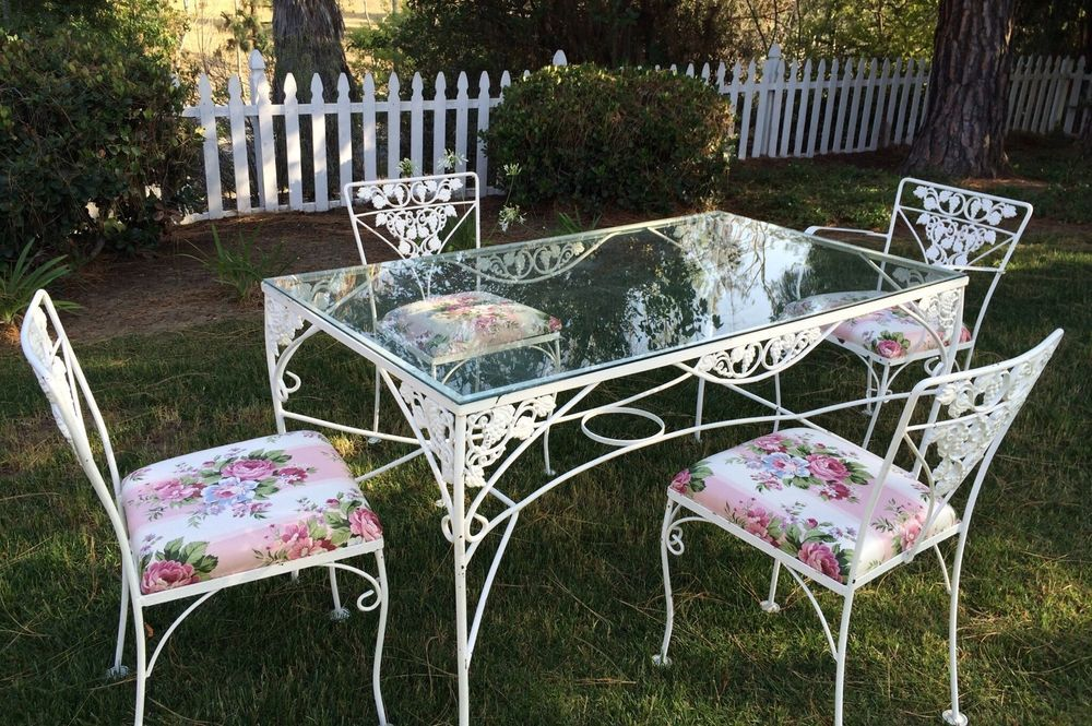 Vintage Mid Century Glass Top Wrought Iron Table With Chairs With