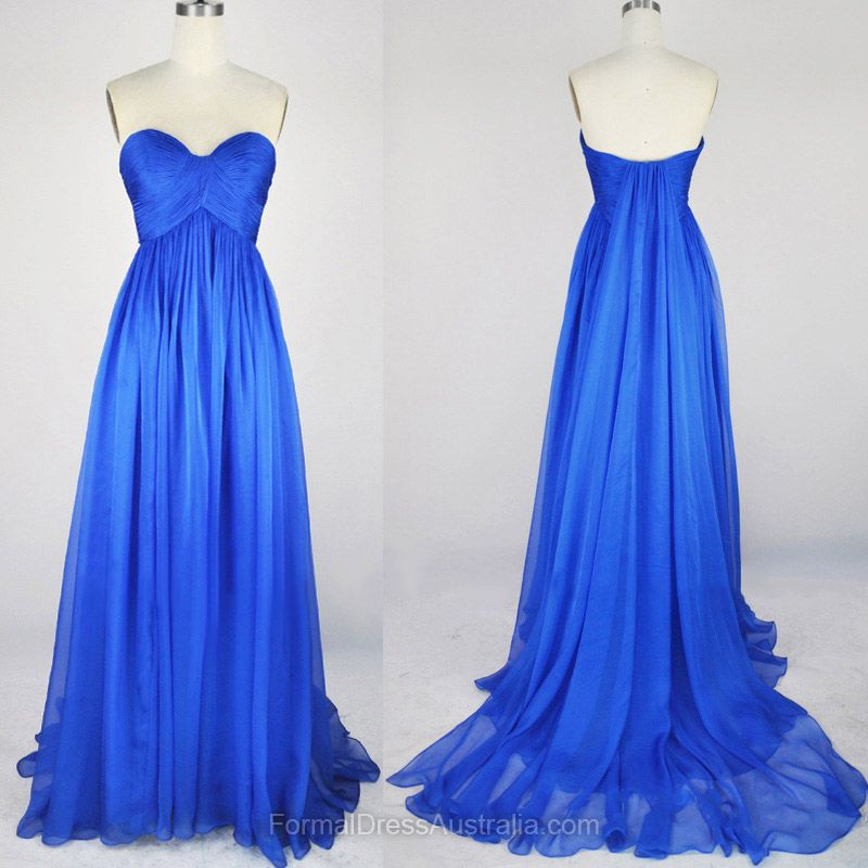 Long Formal Dresses Empire, Sweetheart Formal Dress Chiffon, Blue ...