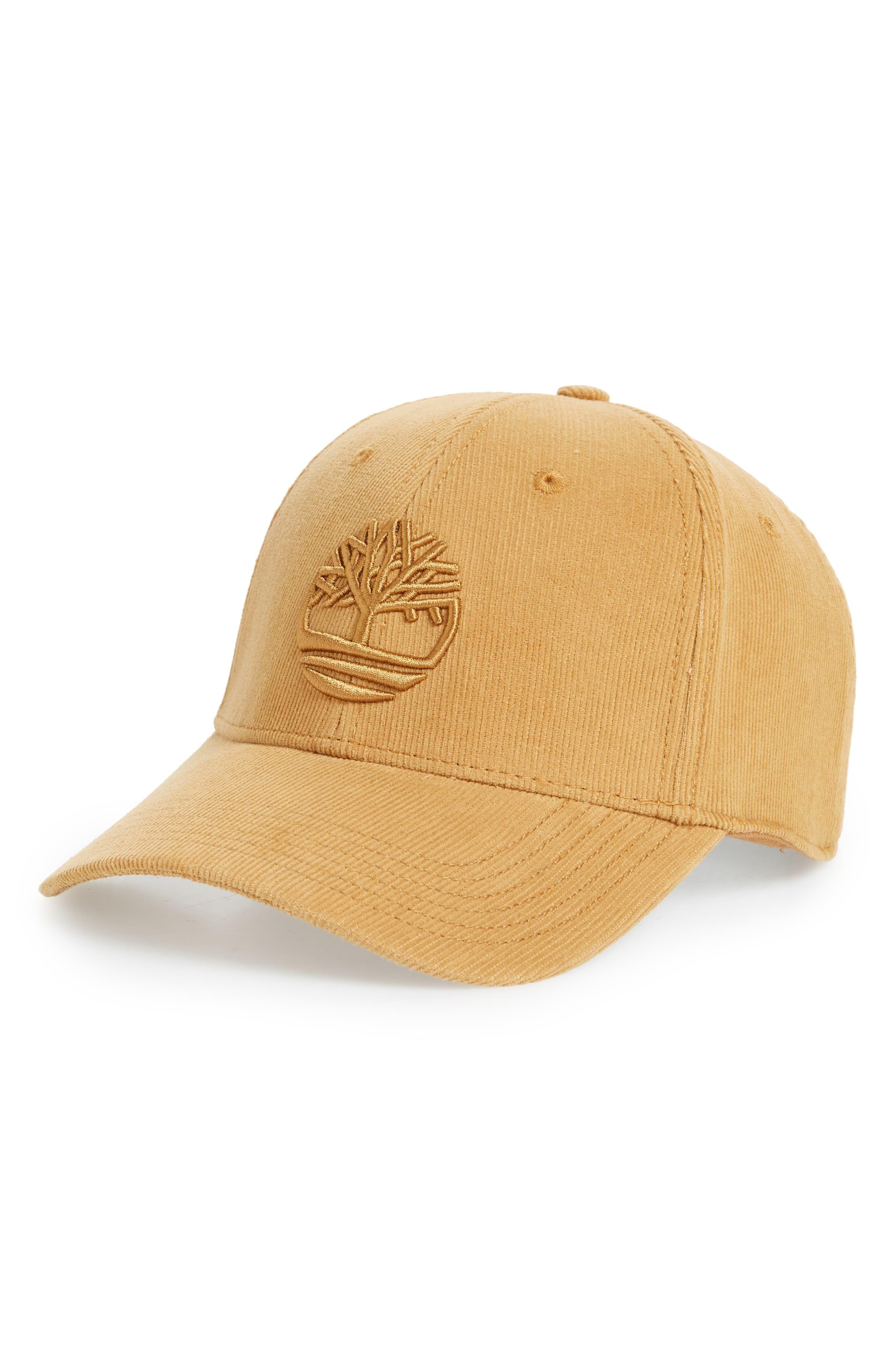Men's Timberland Logo Embroidered Corduroy Ball Cap Brown
