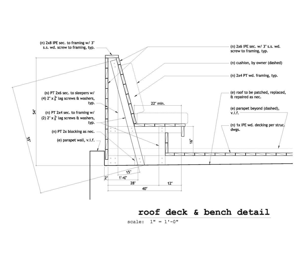 Ipe Bench Construction Detail Google Search Landscape