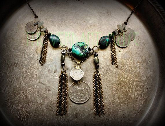 Chunky Tribal Turquoise Necklace With Brass Chain Tassels And Kuchi