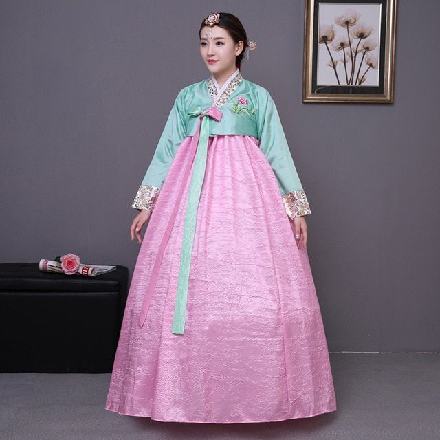 Elegant Embroidery Embellishment Ball Gown Traditional: Traditional Korean Women Clothes National Hanbok Dress