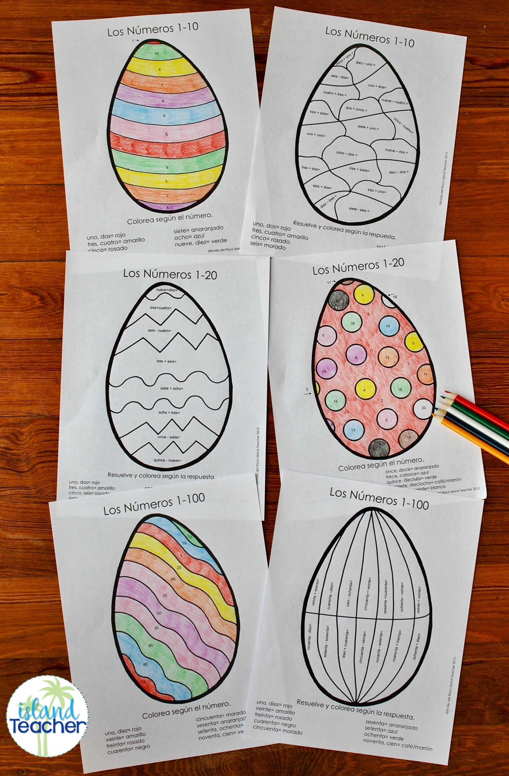 Spanish Easter Eggs Color By Number 1 10 1 20 1 100