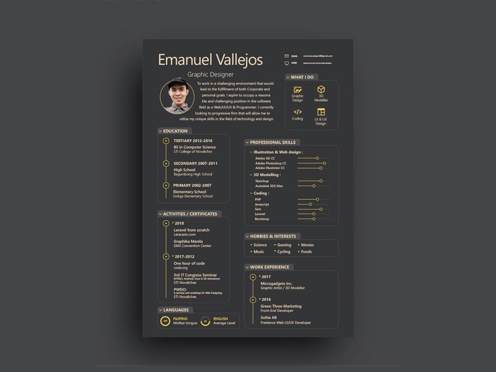 Free Black Resume Cv Template With Attractive Design In Illustrator A Creativebooster Illustrator Resume