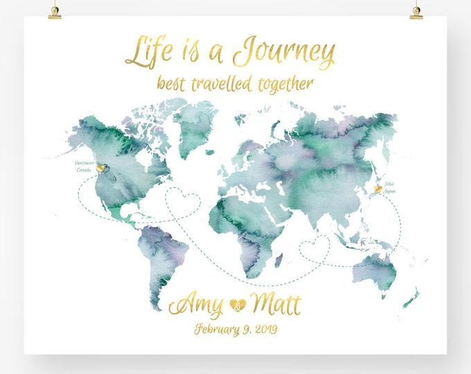 Personalized Custom World Map Wedding Guest Book Watercolor Save