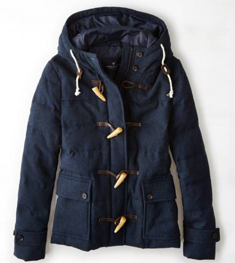 Teal Quilted Duffle Coat By American Eagle Outfitters