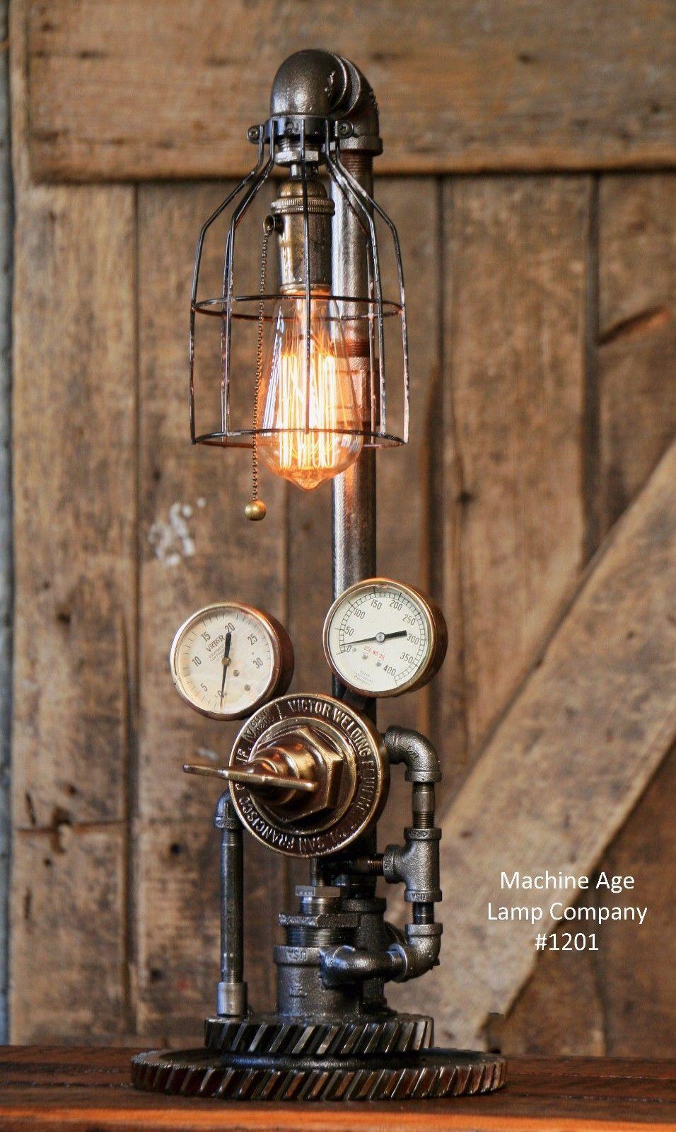 Steampunk Lamp Machine Age Steam Gauge Light