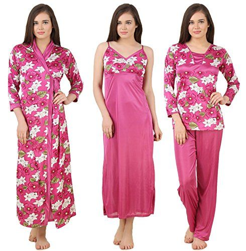 Fasense Women s Satin 4 Pc Set Of Long Nighty Wrap Gown Top  aa747ad59