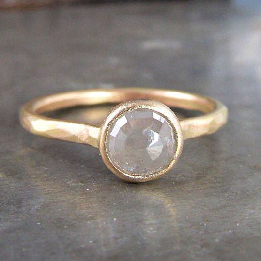 One of a Kind Recycled 14k Gold and Rose Cut Silver Diamond Ring - .96 carats $850