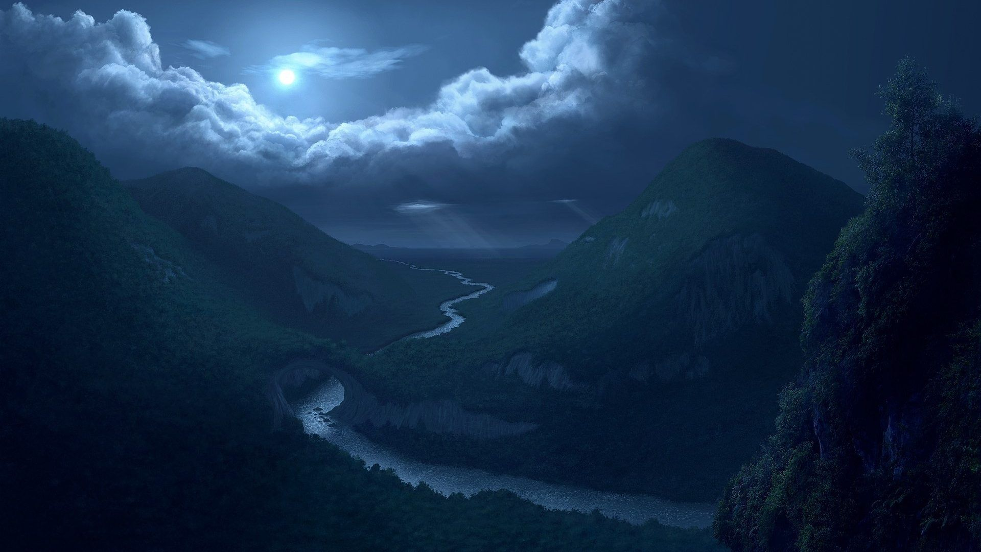 Nature Reflection Night Rivers Landscapes Valley Mountains Sky Woods Trees Clouds Forest Moon Digital Art Pictur Moonlight Painting Night Sky Moon Night Clouds Fantasy art river forest mountains sky