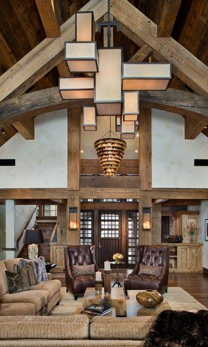 Luxus Interieur Wohnzimmer-Haus Gebirge Timberframe Home Ideas