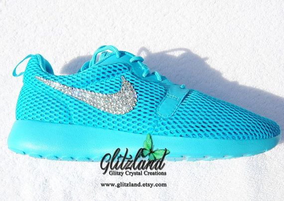96d04e083bf0 Size 7.5 Reduced   Ships Within 3 Bus days! Blinged Nike Roshe One Hyper  Breathe - Gamma Blue Made with SWAROVSKI® Crystals- New In Box