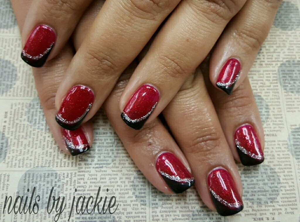 Gel polish manicure on natural nails Red black and silver glitter ...