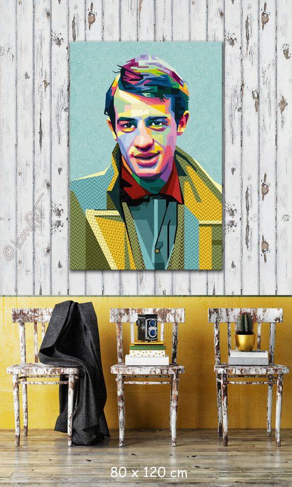 Tribute to jean paul belmondo portrait icon art gallery personalisierter kunstdruck dein name stadt datum pop art grafik wandbild geschenk