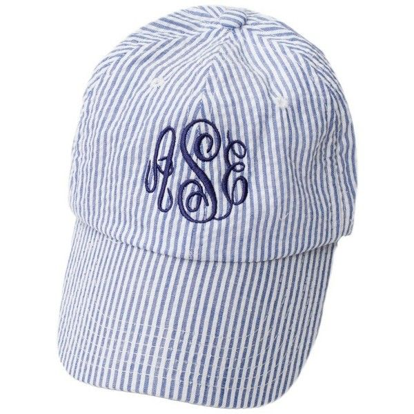 95088c86 Seersucker Baseball Cap featuring polyvore, women's fashion, accessories,  hats, baseball cap, monogram baseball hat, seersucker hat, monogrammed hats  and ...