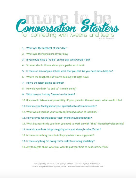 Conversation starters for teenagers