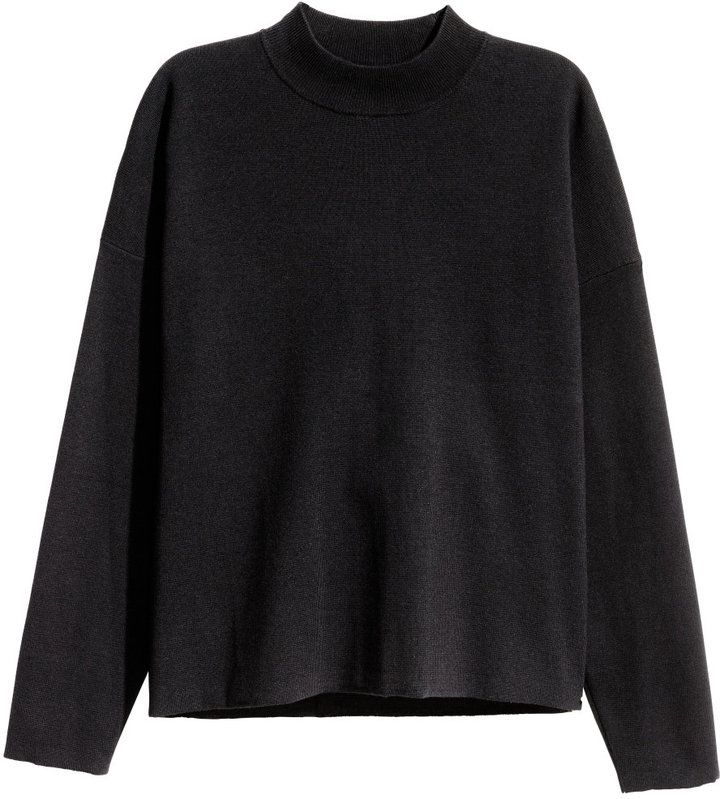 H&M - Mock Turtleneck Sweater - Black - Ladies $29.99 | Fall ...